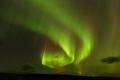 Une aurore boréale verte
