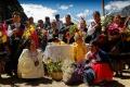 Début de la cérémonie de l'Offrande à l'Eau à la Laguna Parón