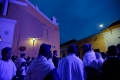 Ambiance colorée devant le Temple San Agustin à  « La Procession des Adieux » du Vendredi Saint